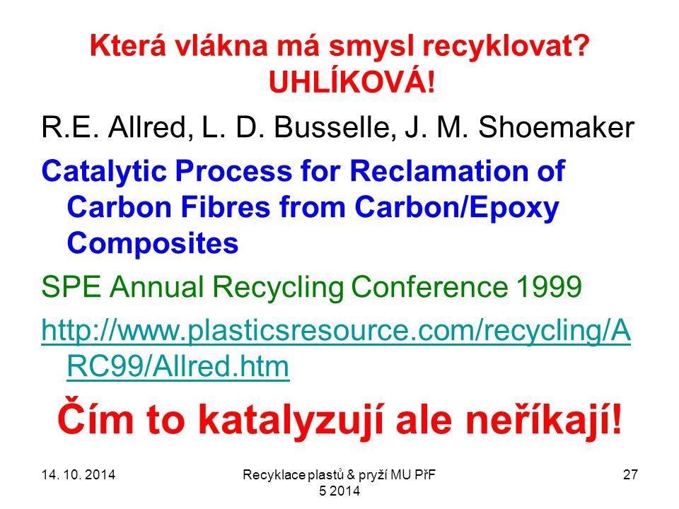Která vlákna má smysl recyklovat. UHLÍKOVÁ. 27 R.E.