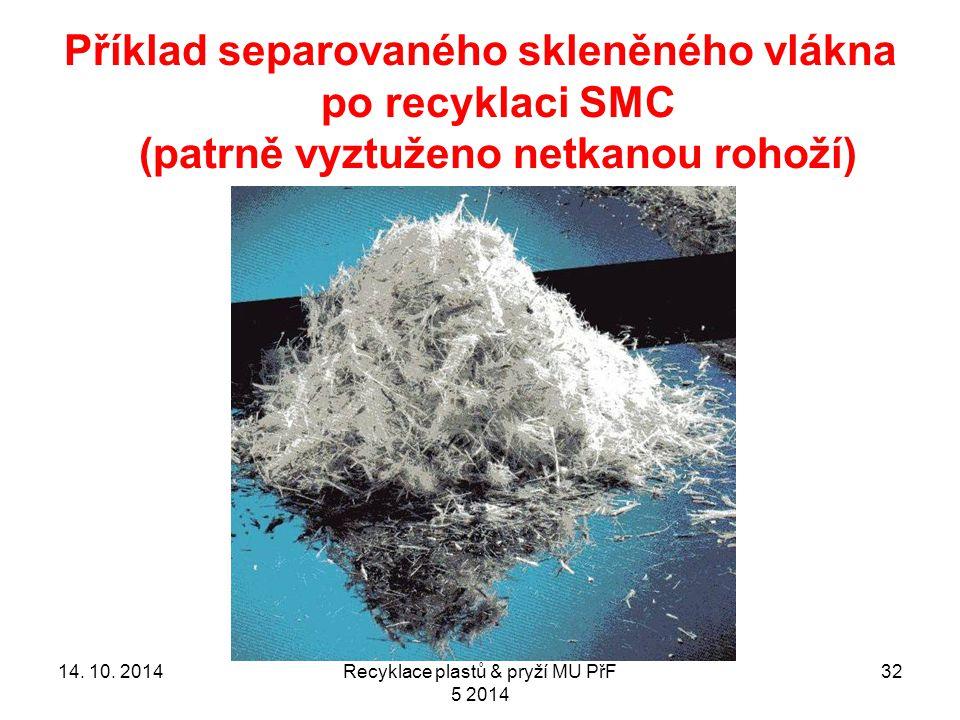 Příklad separovaného skleněného vlákna po recyklaci SMC (patrně vyztuženo netkanou rohoží) 3214.
