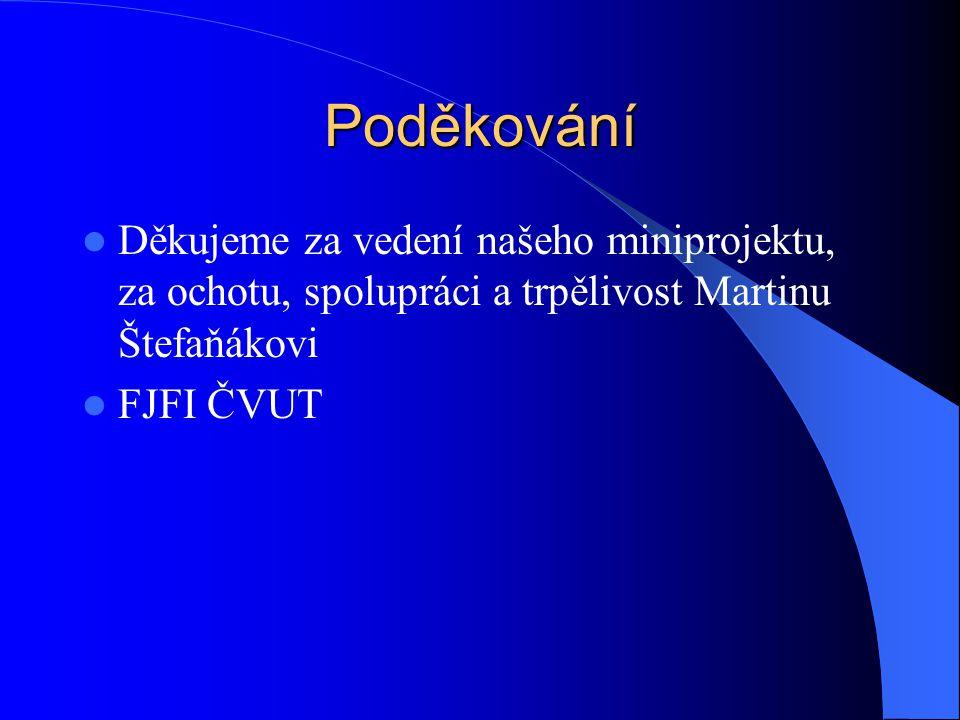 Poděkování Děkujeme za vedení našeho miniprojektu, za ochotu, spolupráci a trpělivost Martinu Štefaňákovi FJFI ČVUT