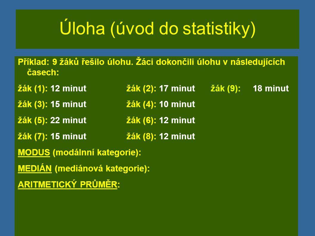 Úloha (úvod do statistiky) Příklad: 9 žáků řešilo úlohu.