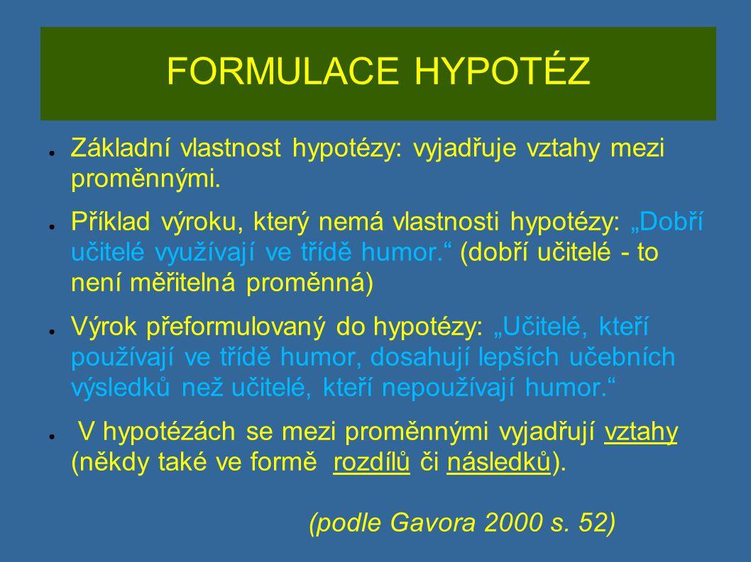 ZLATÁ PRAVIDLA HYPOTÉZ ● Hypotéza je tvrzení.Vyjadřuje se vždy oznamovací větou.