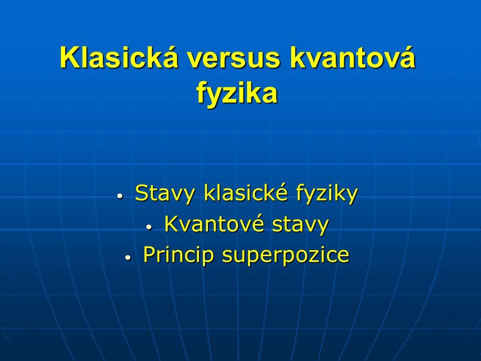 Klasická versus kvantová fyzika Stavy klasické fyziky Stavy klasické fyziky Kvantové stavy Kvantové stavy Princip superpozice Princip superpozice