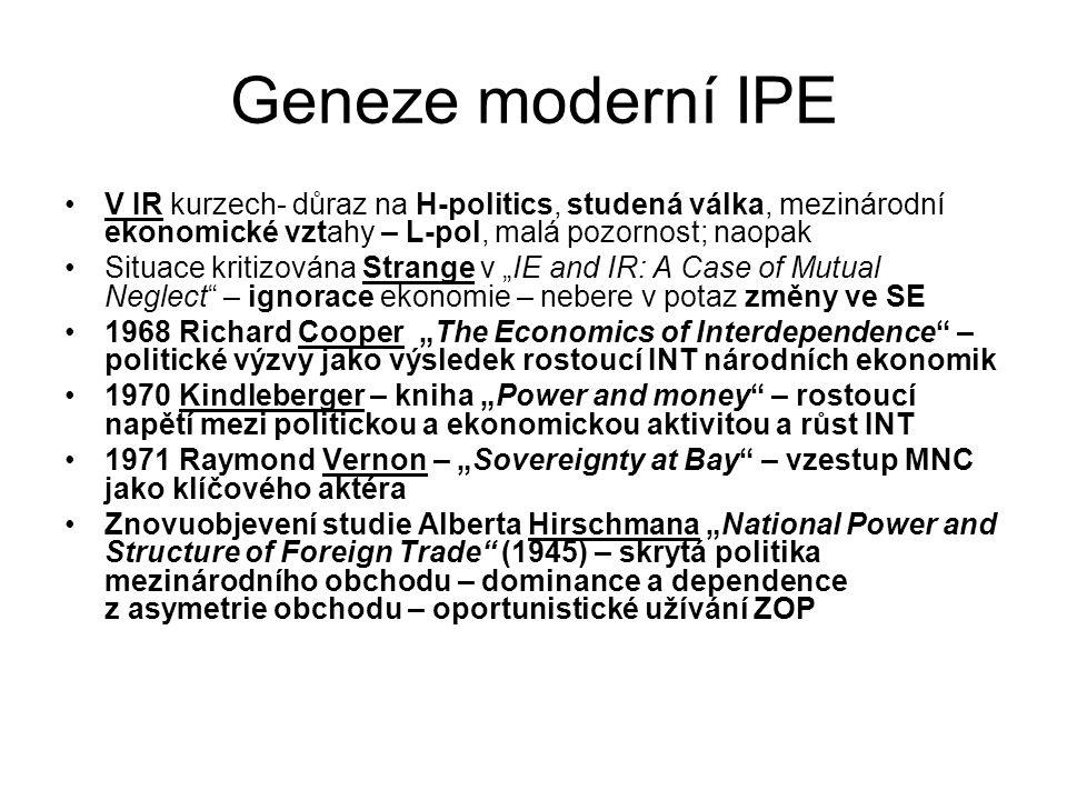 Geneze moderní IPE V IR kurzech- důraz na H-politics, studená válka, mezinárodní ekonomické vztahy – L-pol, malá pozornost; naopak Situace kritizována