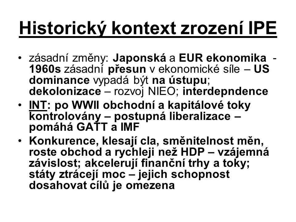 Historický kontext zrození IPE zásadní změny: Japonská a EUR ekonomika - 1960s zásadní přesun v ekonomické síle – US dominance vypadá být na ústupu; d