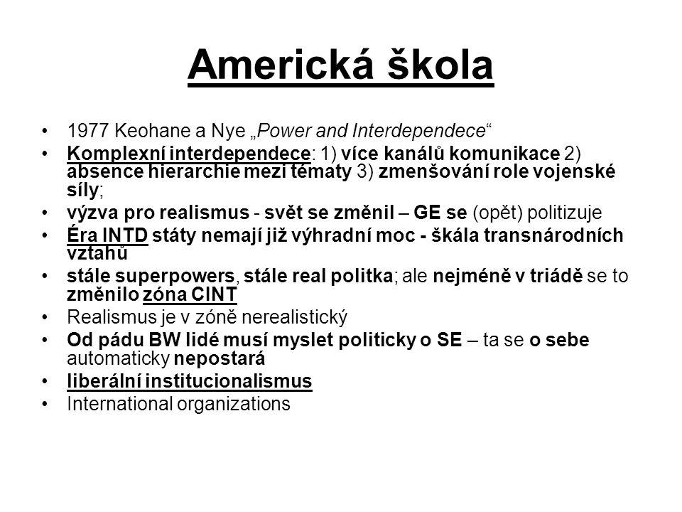 """Americká škola 1977 Keohane a Nye """"Power and Interdependece"""" Komplexní interdependece: 1) více kanálů komunikace 2) absence hierarchie mezi tématy 3)"""