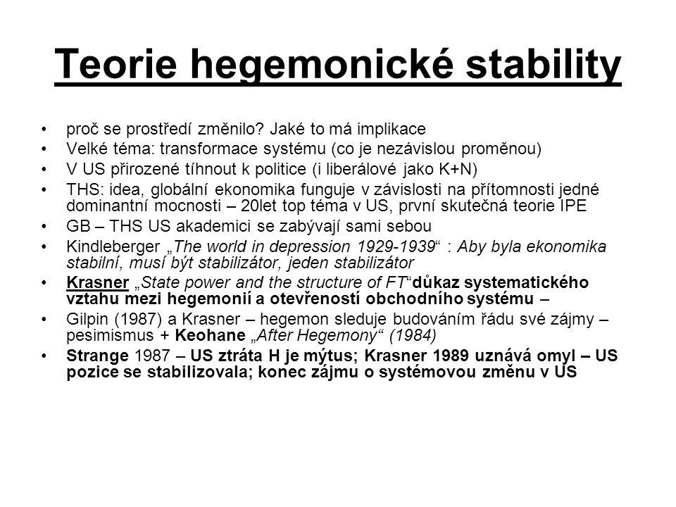 Teorie hegemonické stability proč se prostředí změnilo? Jaké to má implikace Velké téma: transformace systému (co je nezávislou proměnou) V US přiroze