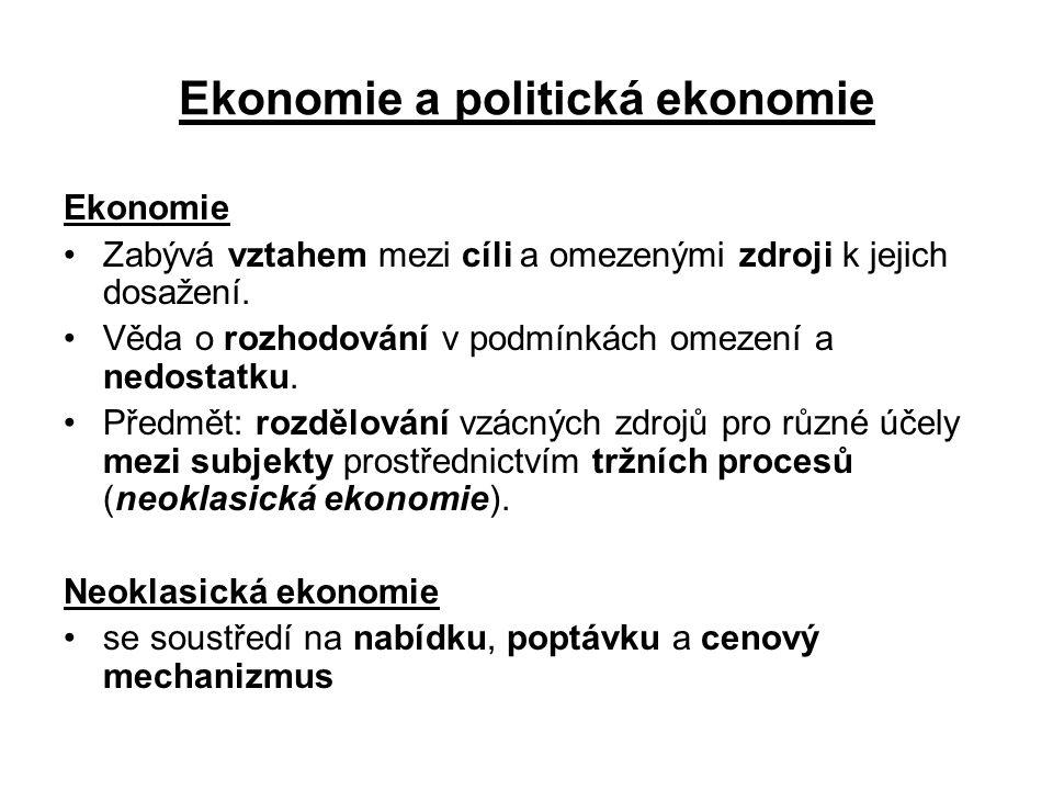 Ekonomie a politická ekonomie Ekonomie Zabývá vztahem mezi cíli a omezenými zdroji k jejich dosažení. Věda o rozhodování v podmínkách omezení a nedost