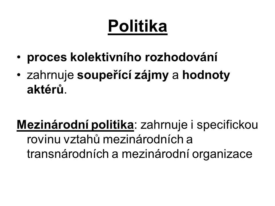 Politika proces kolektivního rozhodování zahrnuje soupeřící zájmy a hodnoty aktérů. Mezinárodní politika: zahrnuje i specifickou rovinu vztahů mezinár