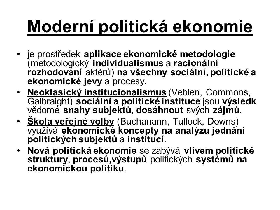 Politická ekonomie (obecně) Aplikace ekonomické metody na všechny druhy lidského chování – vysvětlení sociálního jednání za pomocí ekonomických teorií.