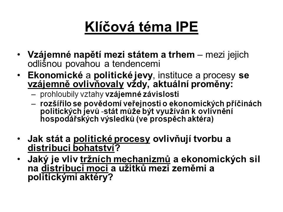 Kořeny IPE klasičtí ekonomové (18.a 19. st): PE – sociální věda spojena s morální filozofií J.S.