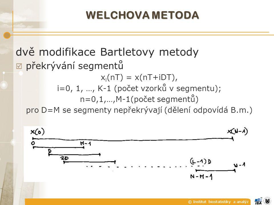 © Institut biostatistiky a analýz dvě modifikace Bartletovy metody  překrývání segmentů x i (nT) = x(nT+iDT), i=0, 1, …, K-1 (počet vzorků v segmentu