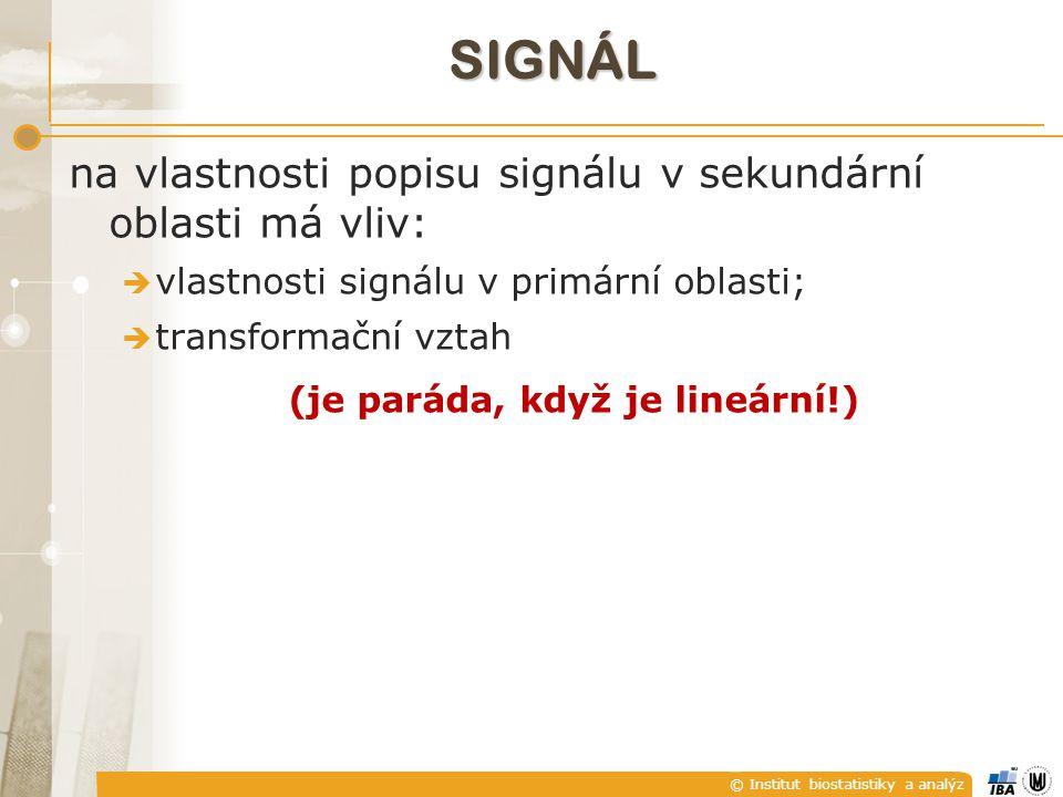 © Institut biostatistiky a analýz SIGNÁL na vlastnosti popisu signálu v sekundární oblasti má vliv:  vlastnosti signálu v primární oblasti;  transformační vztah (je paráda, když je lineární!)