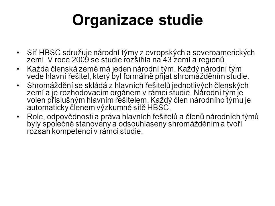 Organizace studie Síť HBSC sdružuje národní týmy z evropských a severoamerických zemí. V roce 2009 se studie rozšířila na 43 zemí a regionů. Každá čle
