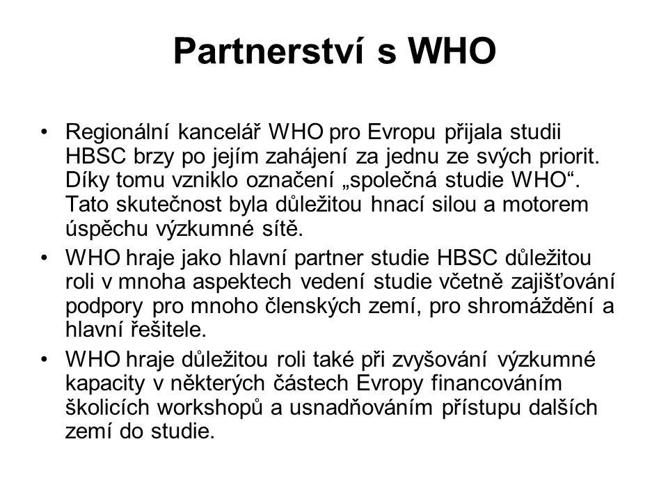 Partnerství s WHO Regionální kancelář WHO pro Evropu přijala studii HBSC brzy po jejím zahájení za jednu ze svých priorit. Díky tomu vzniklo označení
