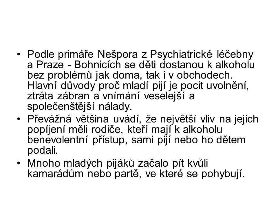 Podle primáře Nešpora z Psychiatrické léčebny a Praze - Bohnicích se děti dostanou k alkoholu bez problémů jak doma, tak i v obchodech. Hlavní důvody