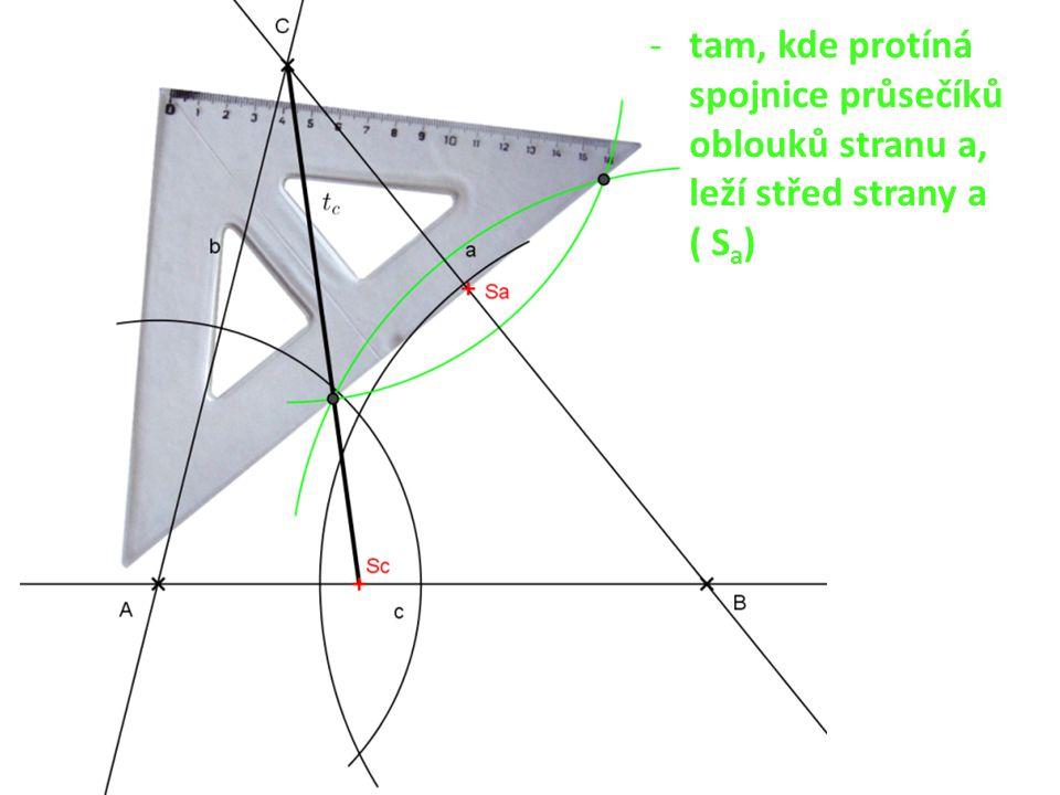 -tam, kde protíná spojnice průsečíků oblouků stranu a, leží střed strany a ( S a )
