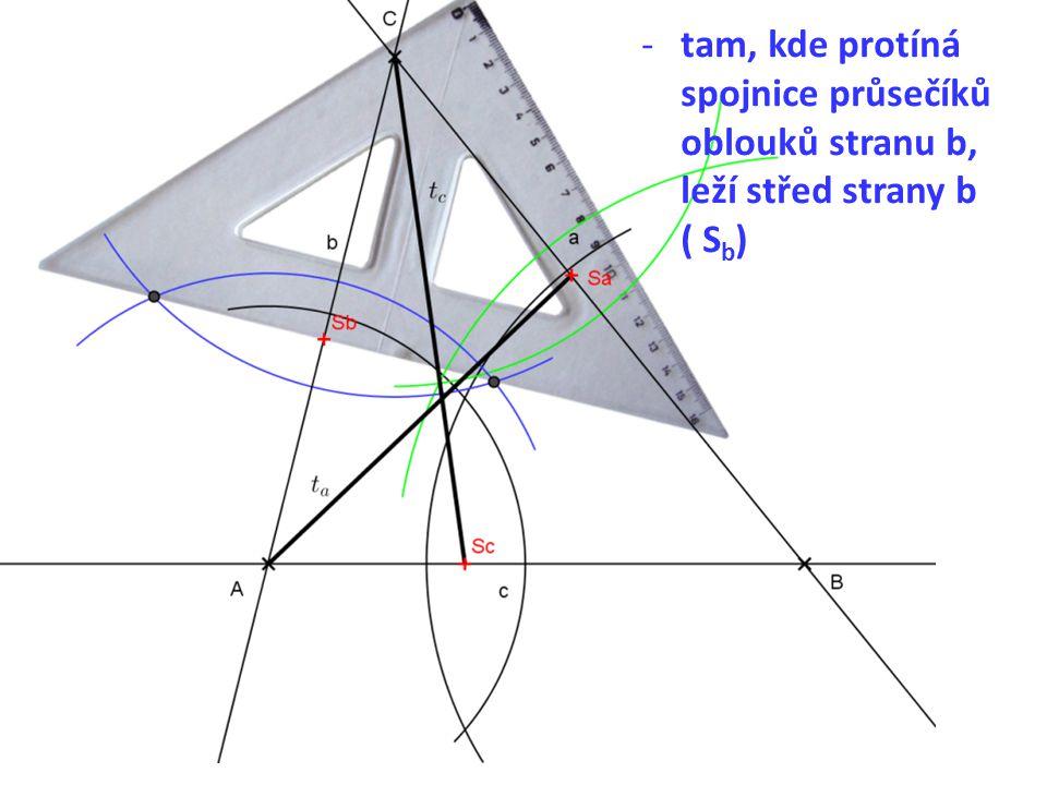 -tam, kde protíná spojnice průsečíků oblouků stranu b, leží střed strany b ( S b )