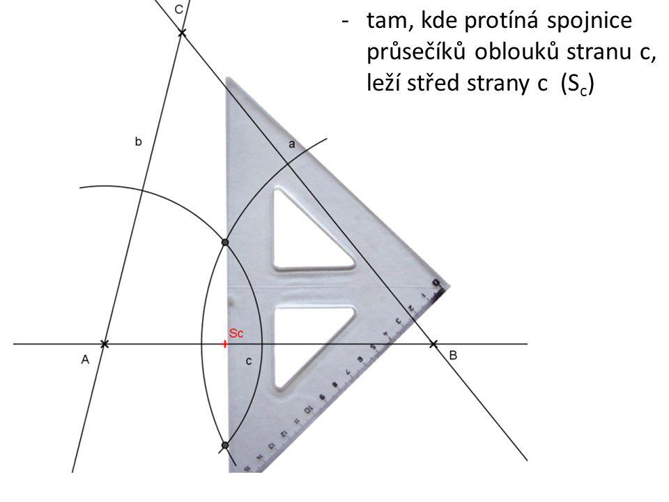-tam, kde protíná spojnice průsečíků oblouků stranu c, leží střed strany c (S c )