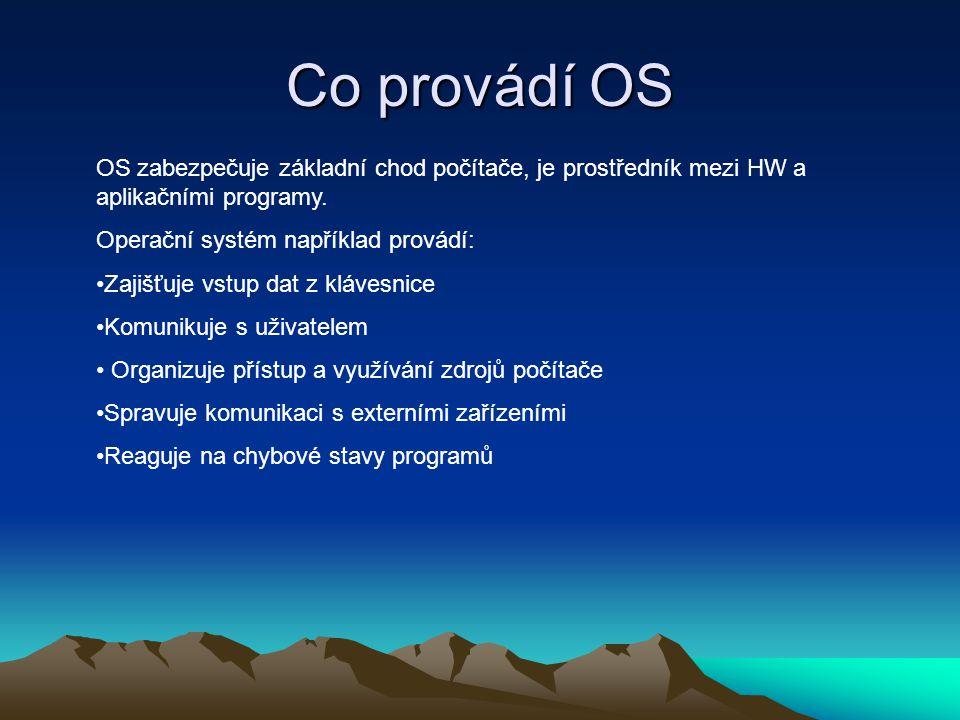 Co provádí OS OS zabezpečuje základní chod počítače, je prostředník mezi HW a aplikačními programy. Operační systém například provádí: Zajišťuje vstup