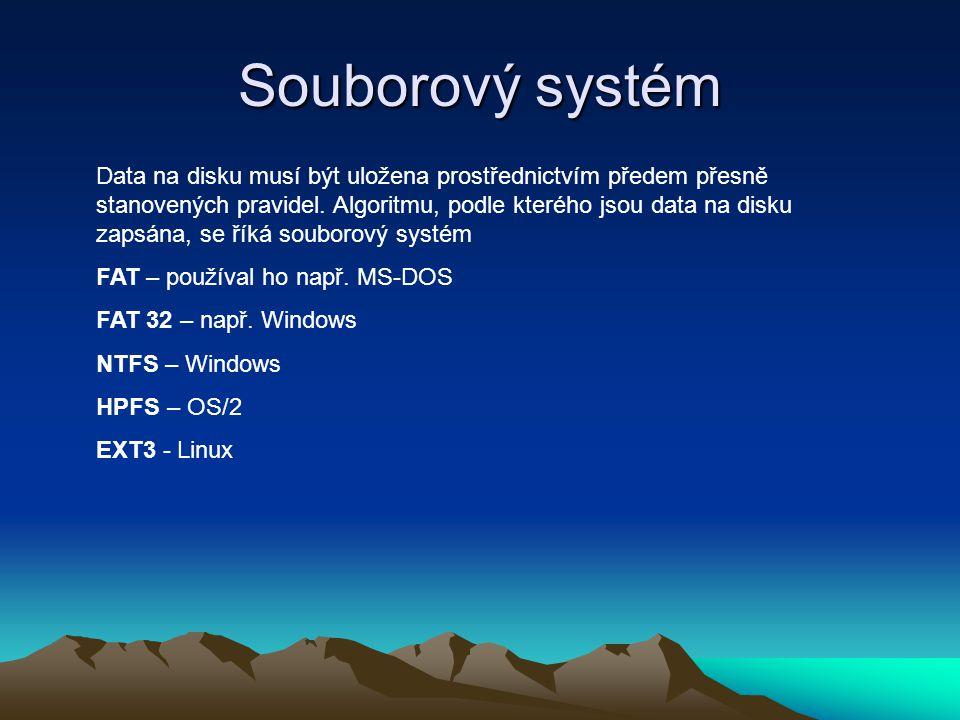 Souborový systém Data na disku musí být uložena prostřednictvím předem přesně stanovených pravidel. Algoritmu, podle kterého jsou data na disku zapsán