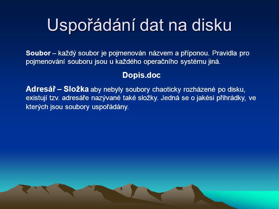 Uspořádání dat na disku Soubor – každý soubor je pojmenován názvem a příponou. Pravidla pro pojmenování souboru jsou u každého operačního systému jiná