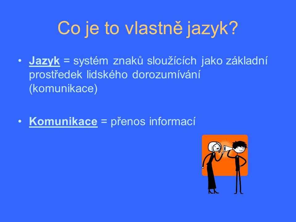 Jazyk = prostředek lidské komunikace