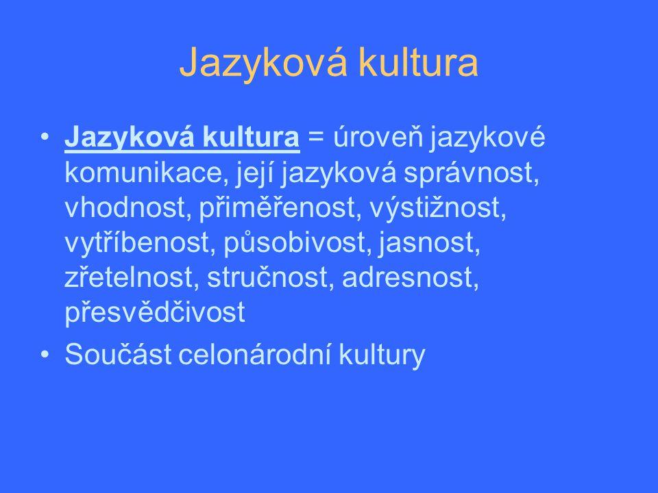 Jazyková kultura Jazyková kultura = úroveň jazykové komunikace, její jazyková správnost, vhodnost, přiměřenost, výstižnost, vytříbenost, působivost, jasnost, zřetelnost, stručnost, adresnost, přesvědčivost Součást celonárodní kultury