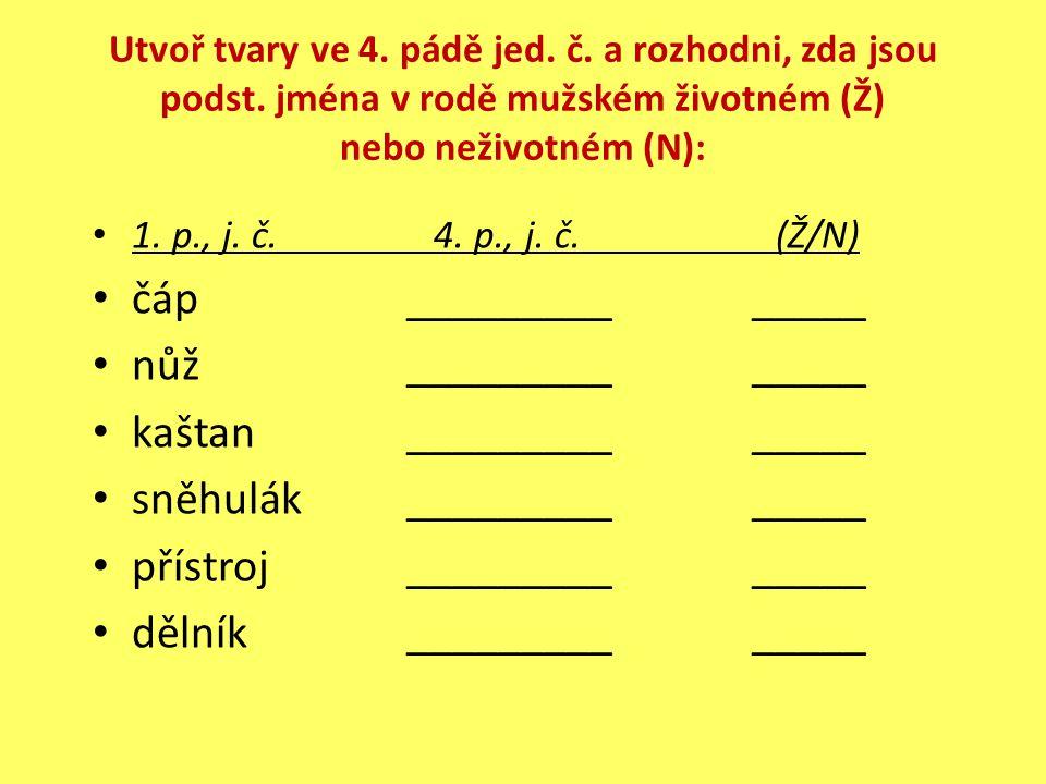 Utvoř tvary ve 4. pádě jed. č. a rozhodni, zda jsou podst.