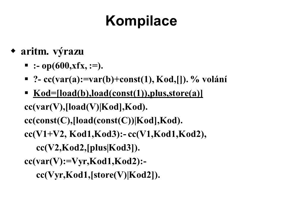 Kompilace  aritm. výrazu  :- op(600,xfx, :=).  - cc(var(a):=var(b)+const(1), Kod,[]).