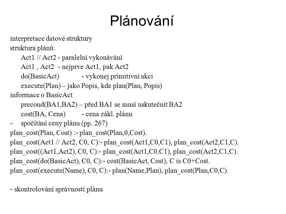 Plánování interpretace datové struktury struktura plánů: Act1 // Act2- paralelní vykonávání Act1, Act2- nejprve Act1, pak Act2 do(BasicAct)- vykonej primitivní akci execute(Plan) – jako Popis, kde plan(Plan, Popis) informace o BasicAct precond(BA1,BA2) – před BA1 se musí uskutečnit BA2 cost(BA, Cena)- cena zákl.