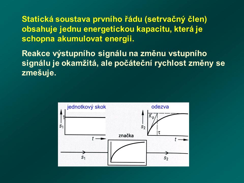 Statická soustava prvního řádu (setrvačný člen) obsahuje jednu energetickou kapacitu, která je schopna akumulovat energii.