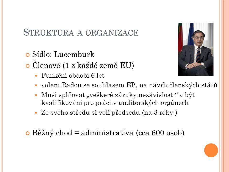 """S TRUKTURA A ORGANIZACE Sídlo: Lucemburk Členové (1 z každé země EU) Funkční období 6 let voleni Radou se souhlasem EP, na návrh členských států Musí splňovat """"veškeré záruky nezávislosti a být kvalifikováni pro práci v auditorských orgánech Ze svého středu si volí předsedu (na 3 roky ) Běžný chod = administrativa (cca 600 osob)"""