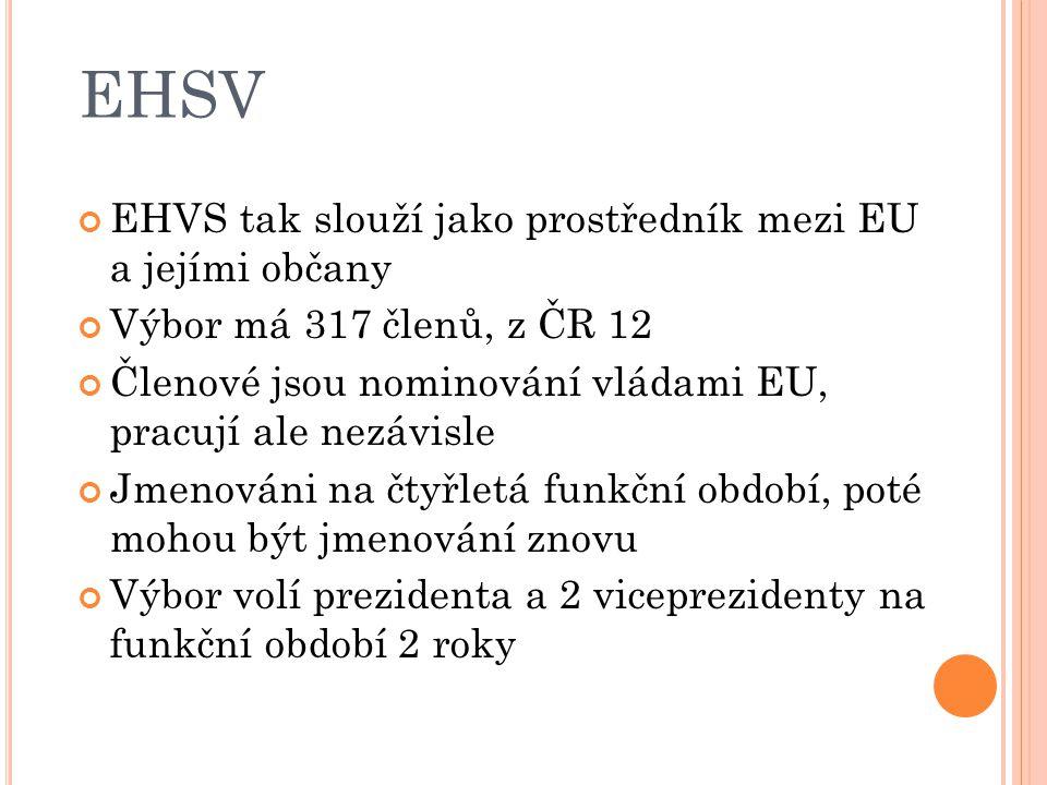 EHSV EHVS tak slouží jako prostředník mezi EU a jejími občany Výbor má 317 členů, z ČR 12 Členové jsou nominování vládami EU, pracují ale nezávisle Jmenováni na čtyřletá funkční období, poté mohou být jmenování znovu Výbor volí prezidenta a 2 viceprezidenty na funkční období 2 roky