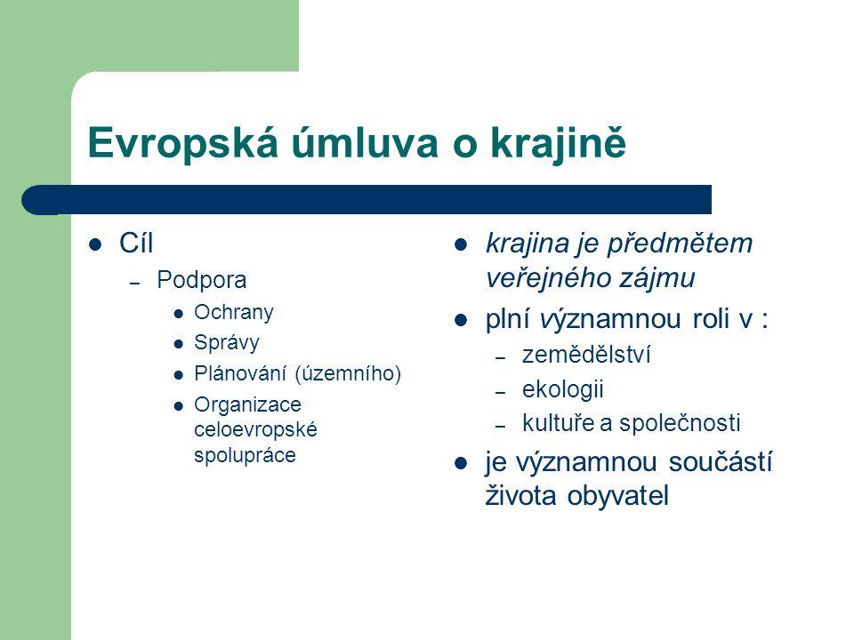 Evropská úmluva o krajině Cíl – Podpora Ochrany Správy Plánování (územního) Organizace celoevropské spolupráce krajina je předmětem veřejného zájmu pl