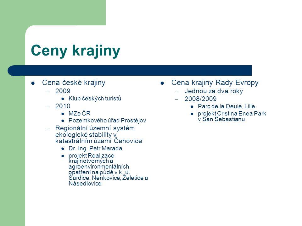 Ceny krajiny Cena české krajiny – 2009 Klub českých turistů – 2010 MZe ČR Pozemkového úřad Prostějov – Regionální územní systém ekologické stability v