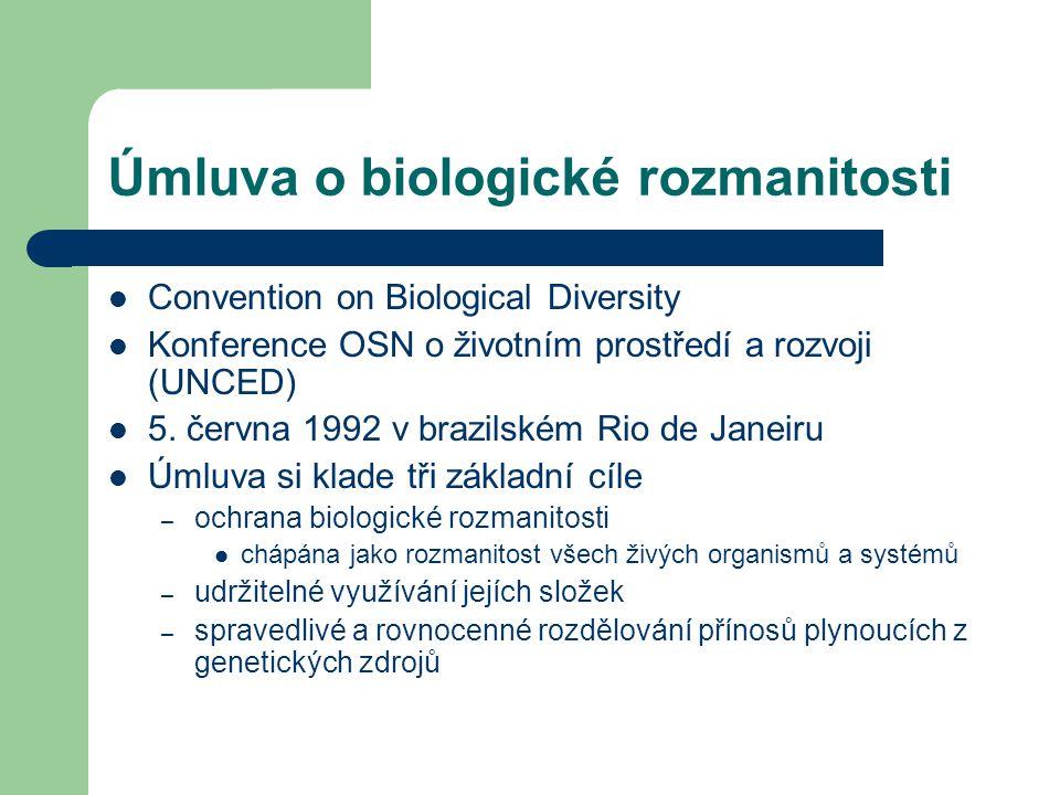 Úmluva o biologické rozmanitosti Convention on Biological Diversity Konference OSN o životním prostředí a rozvoji (UNCED) 5. června 1992 v brazilském