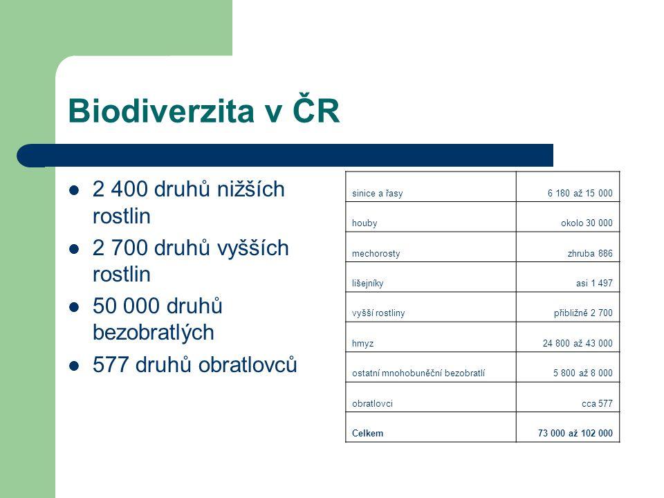 Biodiverzita v ČR 2 400 druhů nižších rostlin 2 700 druhů vyšších rostlin 50 000 druhů bezobratlých 577 druhů obratlovců sinice a řasy6 180 až 15 000