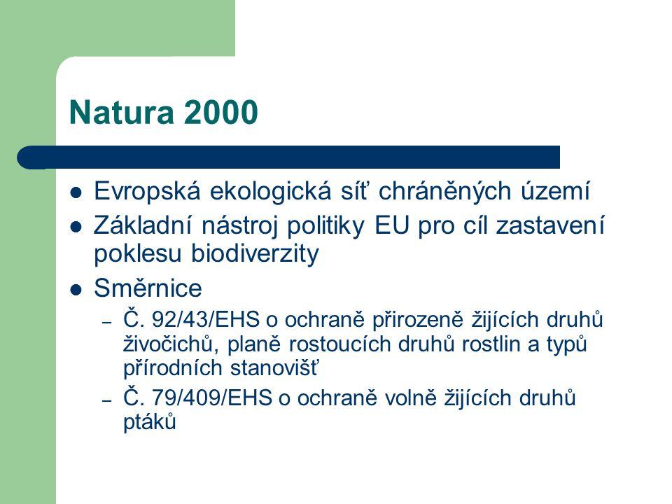 Natura 2000 Evropská ekologická síť chráněných území Základní nástroj politiky EU pro cíl zastavení poklesu biodiverzity Směrnice – Č. 92/43/EHS o och