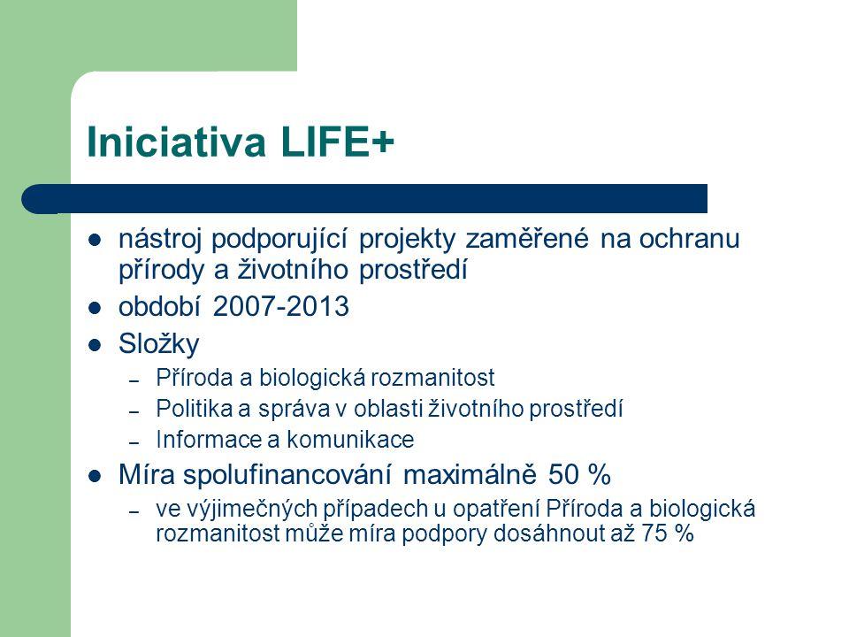 Iniciativa LIFE+ nástroj podporující projekty zaměřené na ochranu přírody a životního prostředí období 2007-2013 Složky – Příroda a biologická rozmani
