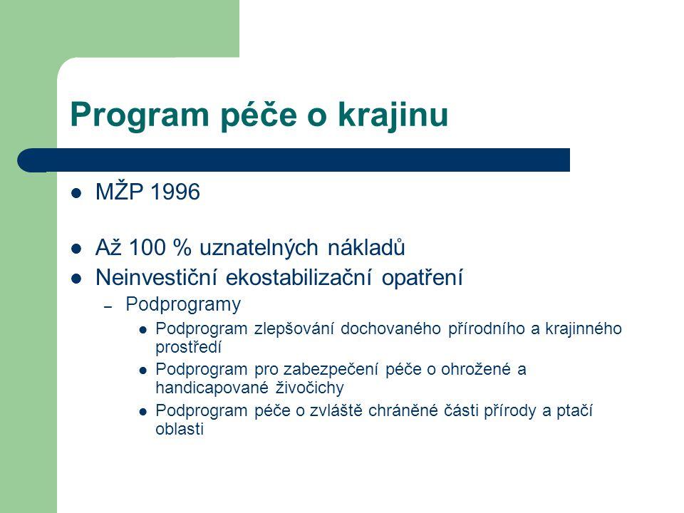 Program péče o krajinu MŽP 1996 Až 100 % uznatelných nákladů Neinvestiční ekostabilizační opatření – Podprogramy Podprogram zlepšování dochovaného pří
