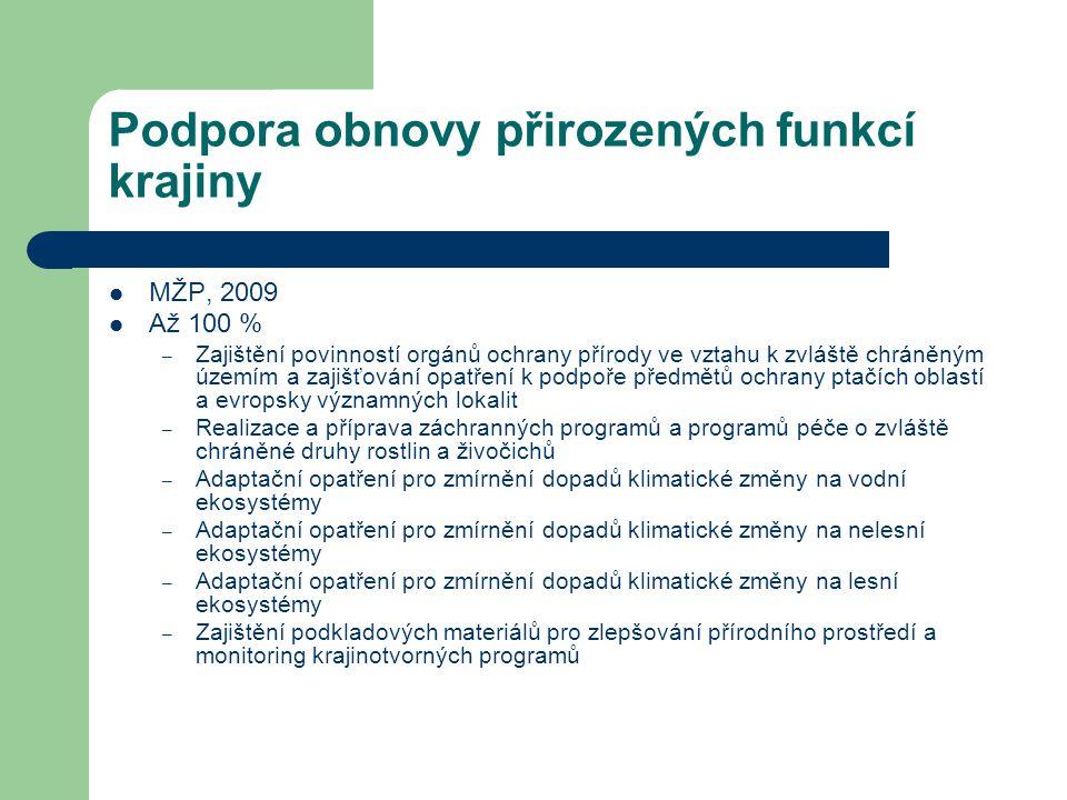 Podpora obnovy přirozených funkcí krajiny MŽP, 2009 Až 100 % – Zajištění povinností orgánů ochrany přírody ve vztahu k zvláště chráněným územím a zaji
