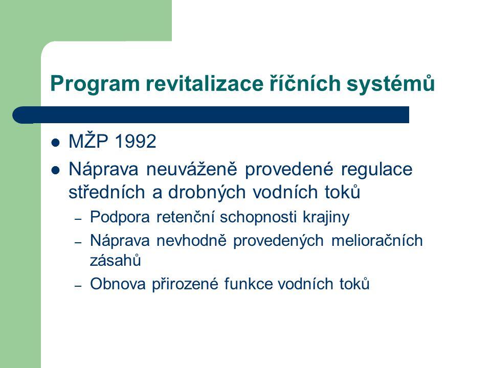 Program revitalizace říčních systémů MŽP 1992 Náprava neuváženě provedené regulace středních a drobných vodních toků – Podpora retenční schopnosti kra