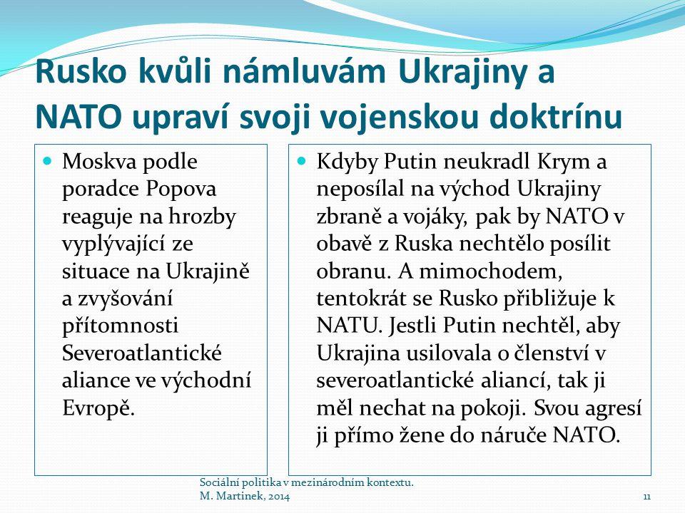 Rusko kvůli námluvám Ukrajiny a NATO upraví svoji vojenskou doktrínu Moskva podle poradce Popova reaguje na hrozby vyplývající ze situace na Ukrajině a zvyšování přítomnosti Severoatlantické aliance ve východní Evropě.