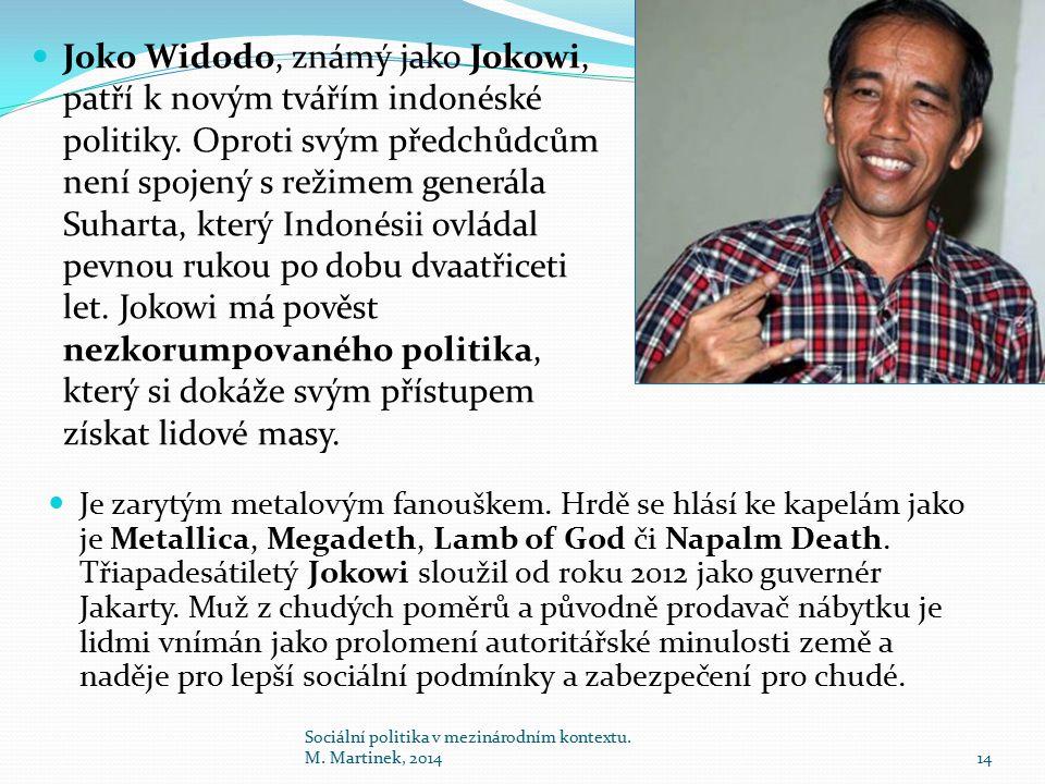 Joko Widodo, známý jako Jokowi, patří k novým tvářím indonéské politiky. Oproti svým předchůdcům není spojený s režimem generála Suharta, který Indoné