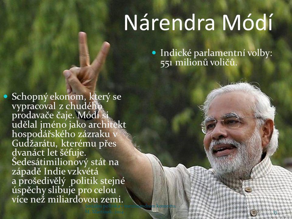 Nárendra Módí Schopný ekonom, který se vypracoval z chudého prodavače čaje. Módí si udělal jméno jako architekt hospodářského zázraku v Gudžarátu, kte