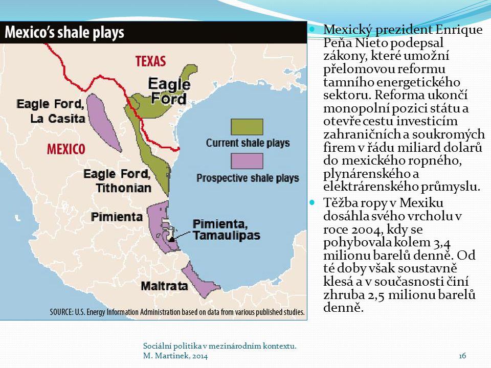Mexický prezident Enrique Peňa Nieto podepsal zákony, které umožní přelomovou reformu tamního energetického sektoru. Reforma ukončí monopolní pozici s