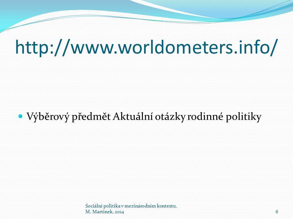 http://www.worldometers.info/ Výběrový předmět Aktuální otázky rodinné politiky 6 Sociální politika v mezinárodním kontextu. M. Martinek, 2014