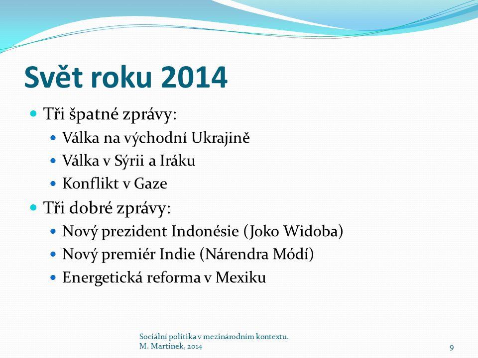 Svět roku 2014 Tři špatné zprávy: Válka na východní Ukrajině Válka v Sýrii a Iráku Konflikt v Gaze Tři dobré zprávy: Nový prezident Indonésie (Joko Wi
