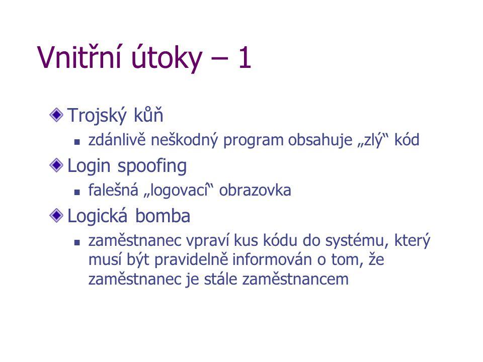 """Vnitřní útoky – 1 Trojský kůň zdánlivě neškodný program obsahuje """"zlý"""" kód Login spoofing falešná """"logovací"""" obrazovka Logická bomba zaměstnanec vprav"""