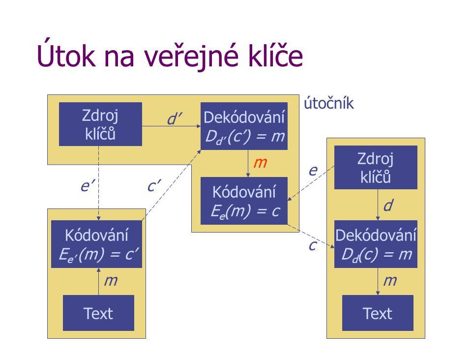 Útok na veřejné klíče Text Kódování E e' (m) = c' m Text Dekódování D d (c) = m m c Zdroj klíčů d e'e' Kódování E e (m) = c Dekódování D d' (c') = m Z